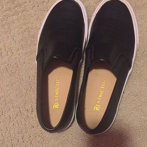 Restricted Shoes - NWOT Black leather slip on shoes